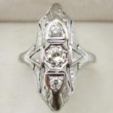 *** Inel    aur   alb 20K  cu  diamante total 0.5 ct, 46 - 56