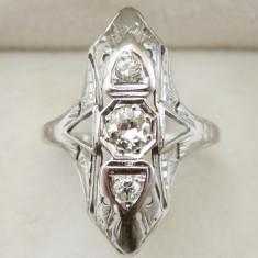 *** Inel aur alb 20K cu diamante total 0.5 ct - Inel diamant, Carataj aur: 21k, 46 - 56