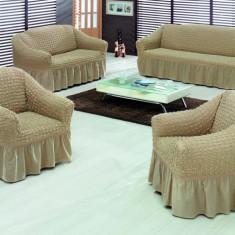 Set huse canapele si fotoliu din bumbac elasticizat creponat - 3.2.1. Bej Inchis - Husa pat