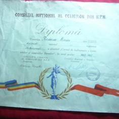 Diploma acordata de Consiliul National al Femeilor RPR 1960