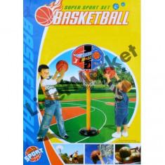 Cos baschet cu picior, minge si pompa pentru umflat 1.40m