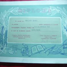 Diploma la Cursurile Universitatilor Populare Publice 1964 - Diploma/Certificat