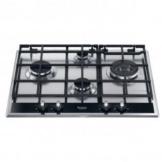 Plita incorporabila Hotpoint PK 640 R L GH /HA, Electrica, 4 Arzatoare, Inox si sticla neagra, Argintiu, Numar arzatoare: 4