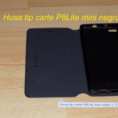 Husa tip carte P8Lite mini negru L-21 - Husa Telefon Huawei, Silicon, Cu clapeta