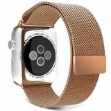 Curea pentru Apple Watch 38mm Otel Inoxidabil iUni Gold Milanese Loop