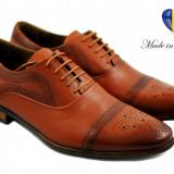 Pantofi barbati eleganti din piele naturala maro (perforatii cu laser) Adriano - Pantof barbat, Marime: 39, 40, 41, 42, 43, 44