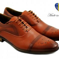 Pantofi barbati eleganti din piele naturala maro (perforatii cu laser) Adriano, Marime: 39, 40, 41, 42, 43, 44