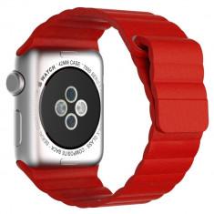 Curea piele pentru Apple Watch 42mm iUni Red Leather Loop