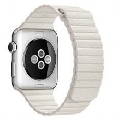 Curea piele pentru Apple Watch 42mm iUni White Leather Loop