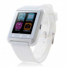 Ceas Smartwatch iUni U8i Bluetooth, compatibil IOS Apple, Android, LCD 1.44 inch, Procesor 360MHz, Touchscreen Capacitiv, Alb