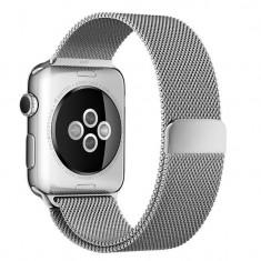 Curea pentru Apple Watch 38mm Otel Inoxidabil iUni Silver Milanese Loop