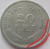 Moneda 20 Lei - ROMANIA, anul 1942 *cod 3363 Zinc-depunere material