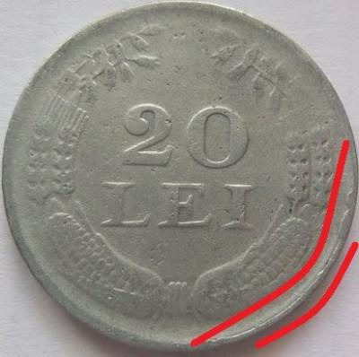 Moneda 20 Lei - ROMANIA, anul 1942 *cod 3363 Zinc-depunere material foto