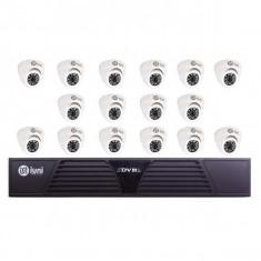 Sistem Supraveghere iUni 16 Camere CMOS 1 MP, 24 Led IR, DVR 16 Canale HD 720p, HDMI, VGA, 2 USB, LAN, PTZ, Antivandal