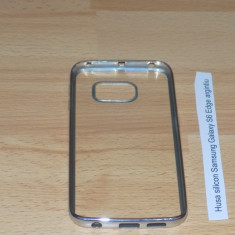 Husa silicon Samsung Galaxy S6 Edge argintiu - Husa Telefon