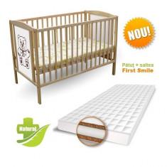 Patut Ursulet si Saltea Coco Lux 120 x 60 cm First Smile - Patut lemn pentru bebelusi First Smile, Maro