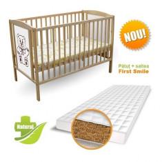 Patut Ursulet cu Saltea Bio 120 x 60 cm First Smile - Patut lemn pentru bebelusi First Smile, Maro