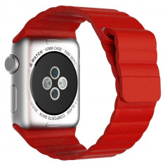 Curea piele pentru Apple Watch 38mm iUni Red Leather Loop