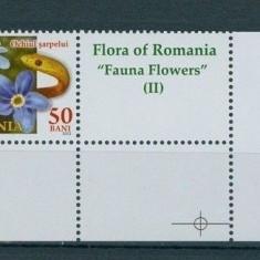 2012 - FLORA ROMANIEI - FLORILE FAUNEI II - 50 bani cu vigneta din coala posta - Timbre Romania, Natura, Nestampilat