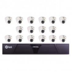 Sistem Supraveghere iUni 16 Camere CMOS 1 MP, 24 Led IR, DVR 16 Canale HD 720p, HDMI, VGA, 2 USB, LAN, PTZ, Interior