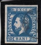 ROMANIA 1871 , CAROL I CU BARBA  VAL. 10 BANI ALBASTRU , STAMPILAT