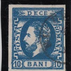 ROMANIA 1871, CAROL I CU BARBA VAL. 10 BANI ALBASTRU, STAMPILAT - Timbre Romania