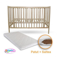 Patut din lemn Izi cu Saltea Bio Natur First Smile - Patut lemn pentru bebelusi First Smile, 120x60cm, Maro