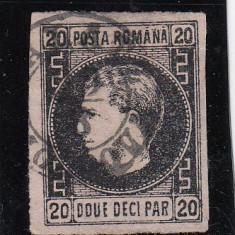 ROMANIA 1867 , CAROL I CU FAVORITI 20 PARALE , HARTIE SUBTIRE , POINCON