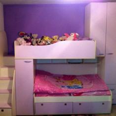 Vand pat suprapus copii - model deosebit ! - Pat supraetajat pentru copii, Alte dimensiuni, Roz