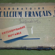Cutie veche din carton medicamente Calcium Francais J. B. gluconate de calcium - Cutie Reclama