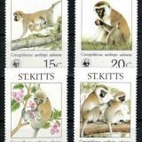St. Kitts 1986 WWF TOP SET, Mi #184-187**, maimute, MNH, cota 35 € ! - Timbre straine, Natura, Nestampilat