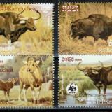 Cambodgia Kampuchea 1986 WWF, Mi #823-826**, bivoli, MNH, cota 18 €! - Timbre straine, Natura, Nestampilat