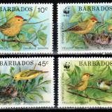 Barbados 1991 WWF, Mi #770-773**, pasari, MNH, cota 17 €! - Timbre straine, Natura, Nestampilat