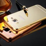 Husa Capac Bumper Aluminiu Samsung Galaxy J5 2015 Capac Negru Roz