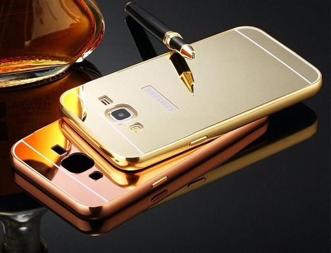 Husa Capac Bumper Aluminiu Samsung Galaxy J5 2015 Capac Auriu foto mare