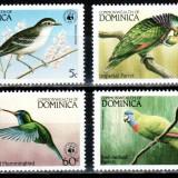 Dominica 1984 WWF, Mi #836-839, pasari, MNH, cota 24 € ! - Timbre straine, Natura, Nestampilat