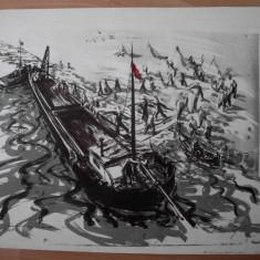 LITOGRAFIE, MARCEL CHIRNOAGA - Pictor roman, Abstract, Cerneala