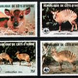 Coasta de Fildes 1985 WWF, Mi #881-884**, animale, MNH, cota 55 €! - Timbre straine, Natura, Nestampilat