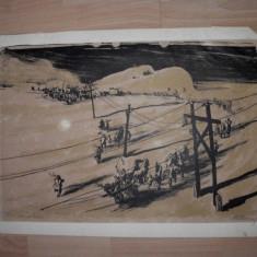LITOGRAFIE MARCEL CHIRNOAGA, 1960 - Pictor roman, Abstract, Cerneala