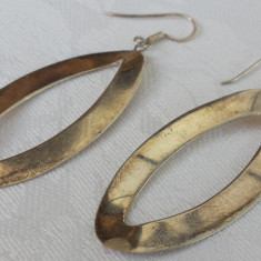 Cercei argint ovali finuti eleganti Vintage executati manual delicati de efect