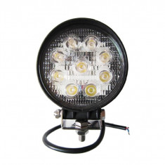Proiector LED Auto Offroad 27W/12V-24V, 1980 Lumeni, Rotund, Spot Beam 30 Grade, Universal