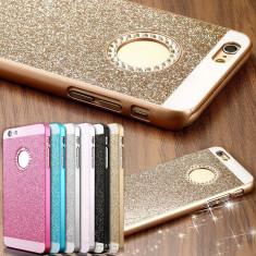 Husa iPhone 5 5S SE Diamonds Gold - Husa Telefon Apple, Auriu, Plastic, Fara snur, Carcasa