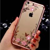 Husa iPhone 5 5S SE TPU Flower Rose Gold, iPhone 5/5S/SE, Transparent, Gel TPU, Apple