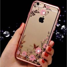 Husa iPhone 5 5S SE TPU Flower Rose Gold - Husa Telefon Apple, Transparent, Gel TPU, Fara snur, Carcasa
