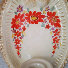 Suport lumanare ceramica de la Faimar Baia Mare, 20 cm, pictata manual, colectie - Bibelou