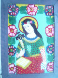 Icoana pe sticla inc.sec.XX - Maica Domnului cu Iisus pe Cruce, citind Biblia