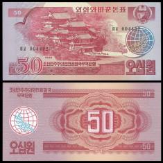 !!! COREEA NORD -  50  WON 1988  - P 38 - UNC / VIZITATORI  SOCIALISTI - ROSU