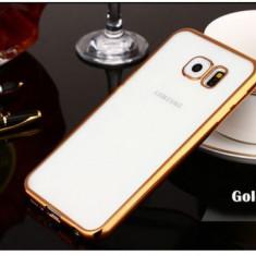 Husa Samsung Galaxy S6 Edge Plus TPU Margine Gold - Husa Telefon Samsung, Transparent, Gel TPU, Fara snur, Carcasa