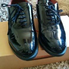 Pantofi oxford Benaza, piele - Pantofi barbat, Marime: 37, Piele naturala, Negru