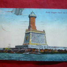Ilustrata Constanta - Farul Regele Carol I din Port, Depozit I.Saraga 1916 - Carte Postala Dobrogea 1904-1918, Circulata, Printata